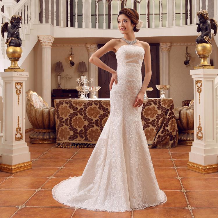 Тонкий тонкий шнурок талии рыбий хвост Свадебные платья 2015 зимняя хвост плюс Размер Свадебные платья невесты Платье вечернее платье