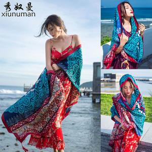 2021新款民族风丝巾女士围巾春秋海边防晒披肩沙滩巾百搭长款纱巾