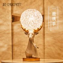 设计师玻璃装饰美式台灯ins北欧卧室台灯床头灯创意后现代登对