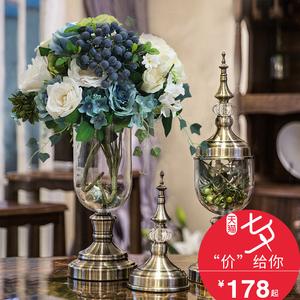 欧式<span class=H>家居</span>水晶玻璃金属花瓶仿真插花器摆件美式餐桌客厅酒柜装饰品