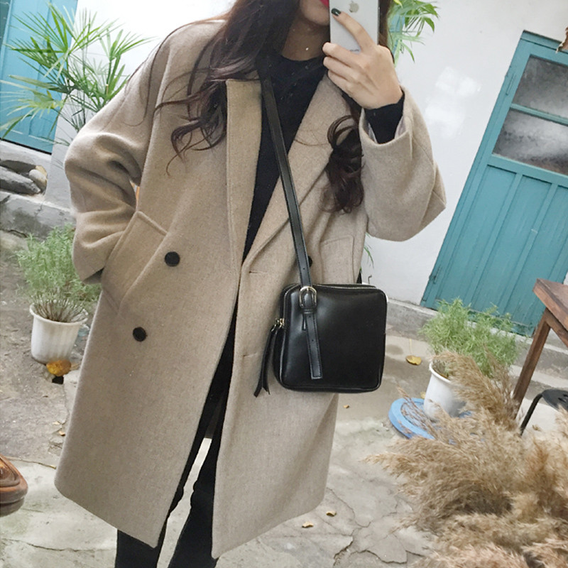 Woollen coat womens middle and long Korean version fall / winter 2018 new Mori Heben style thickened students woolen coat
