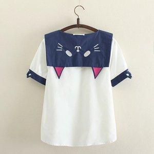 原宿日系小清新森女卡通小猫咪可爱萌妹少女海军领水手服短袖衬衫