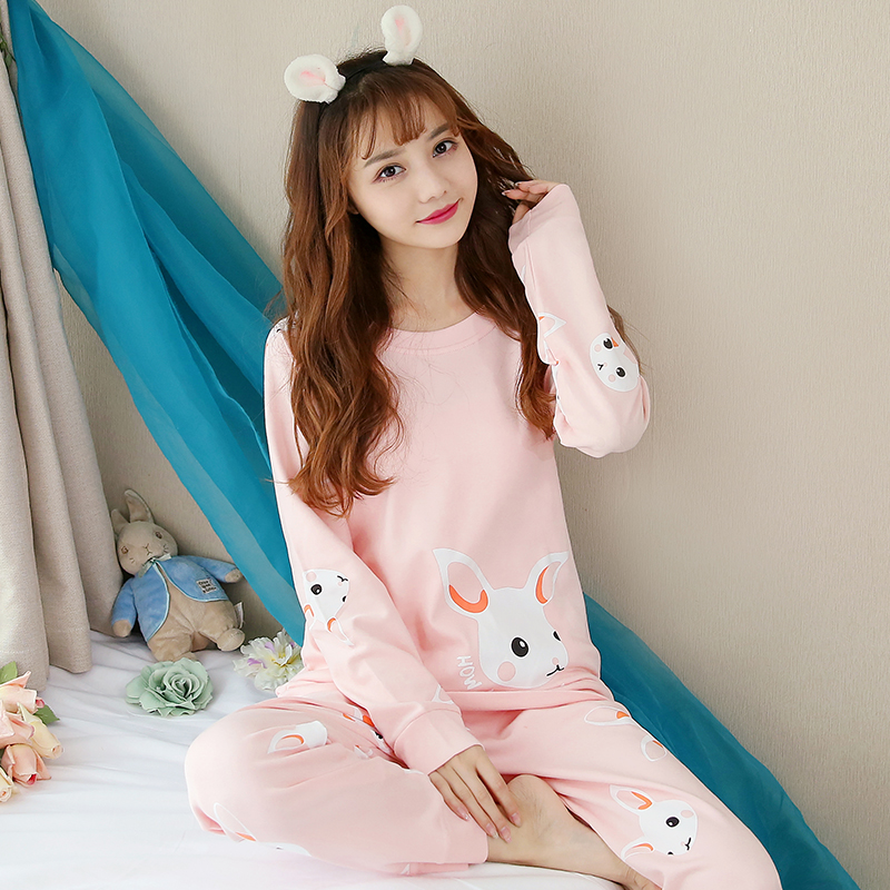 Long sleeve girls pajamas thin Korean version spring and autumn sweet and lovely wear summer suit postpartum loose maternity home clothes