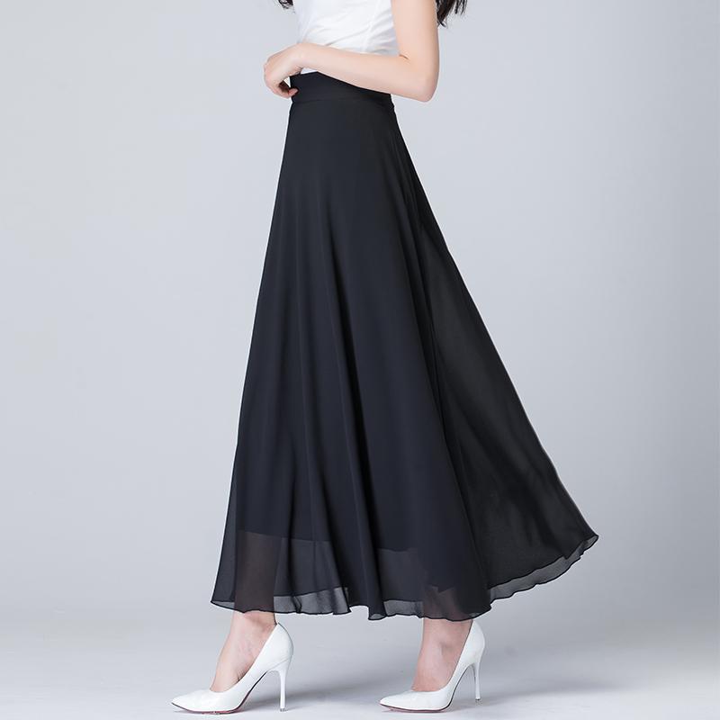 2021纯色雪纺夏季新款高腰半身裙
