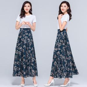 2020夏季新款碎花大码雪纺半身长裙女士高腰A字中年跳舞半身裙子