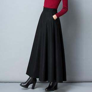 冬季毛呢长裙半身裙加厚a字裙高腰大摆长裙纯色大码呢子冬长裙女