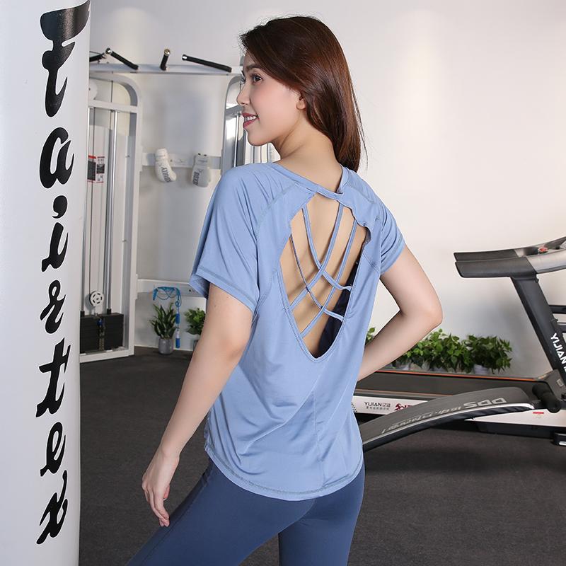 运动女短袖健身镂空美背性感薄t恤49.00元包邮