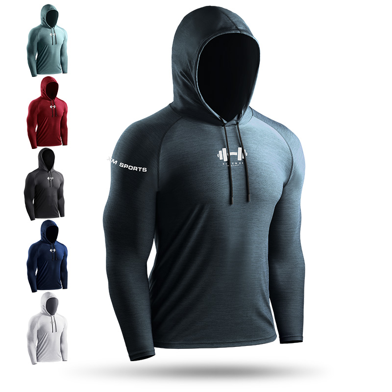 宽松大码套头衫短袖T恤男速干跑步长袖外套连帽上卫衣运动健身服