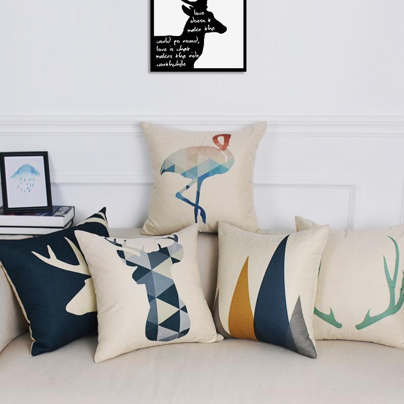 北极绒北欧棉麻抱枕几何鹿头棉麻沙发靠枕腰垫办公室座椅靠垫含芯