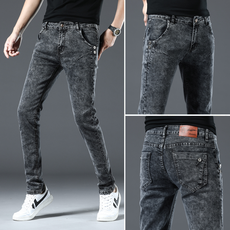 Youth Summer Korean elastic slim fit casual small feet snow grey jeans pants mens versatile straight pants