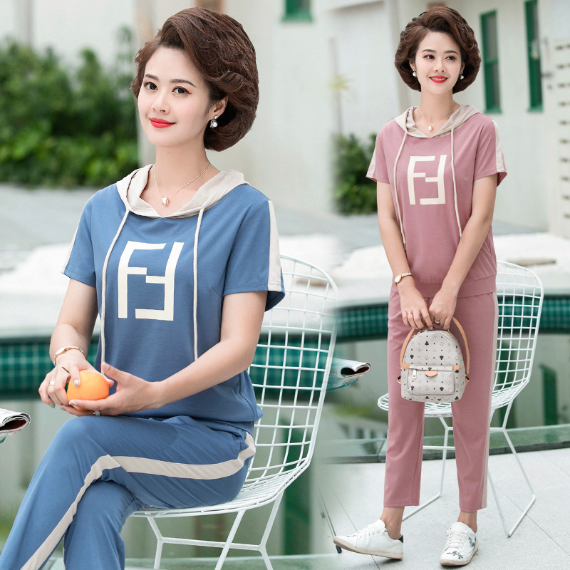S28 summer clothing young mother sportswear set Hoodie 40-50 middle age short sleeve womens T-shirt two piece set