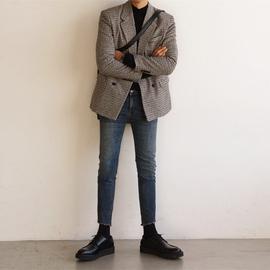 冬季羊绒大衣男双排扣毛呢大衣男短款韩版修身千鸟格子西装男外套