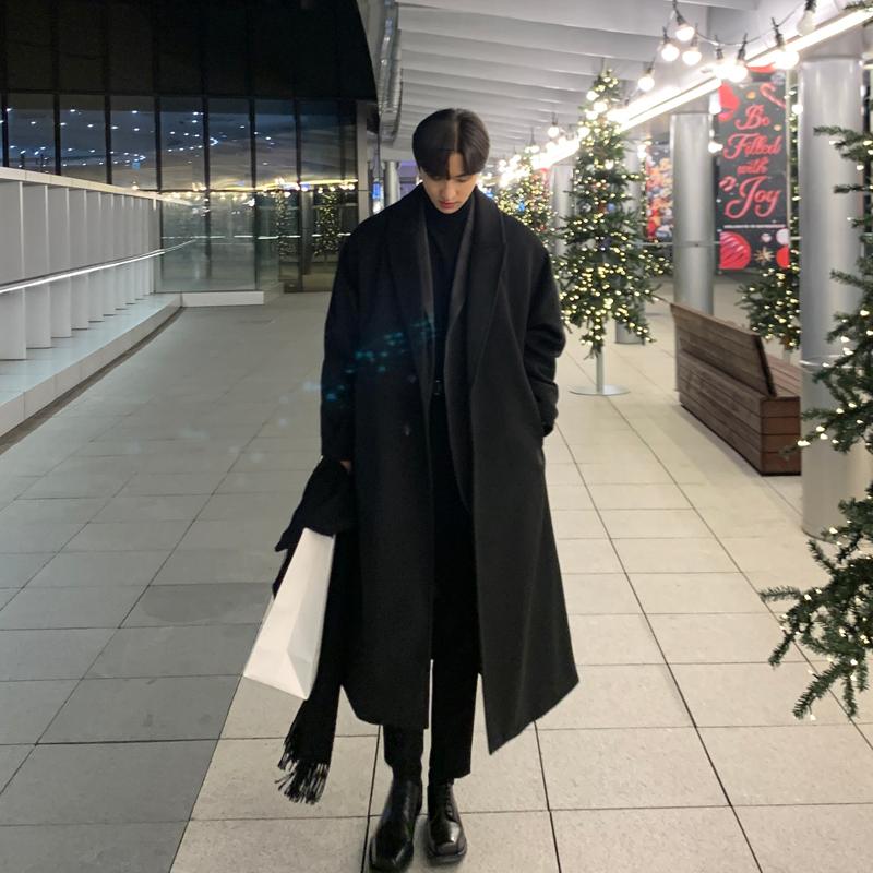 新款男士风衣英伦风单排毛呢大衣男长款过膝韩版冬季加厚羊绒外套