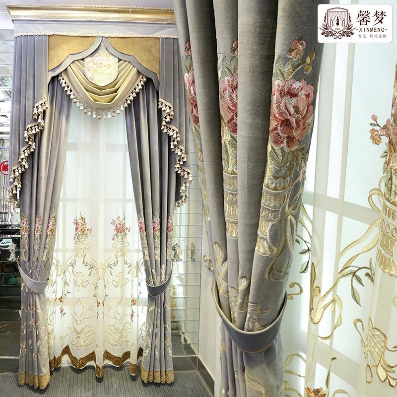 馨梦新品欧式绒布绣花窗帘成品遮光法式客厅卧室时尚布艺窗帘定制