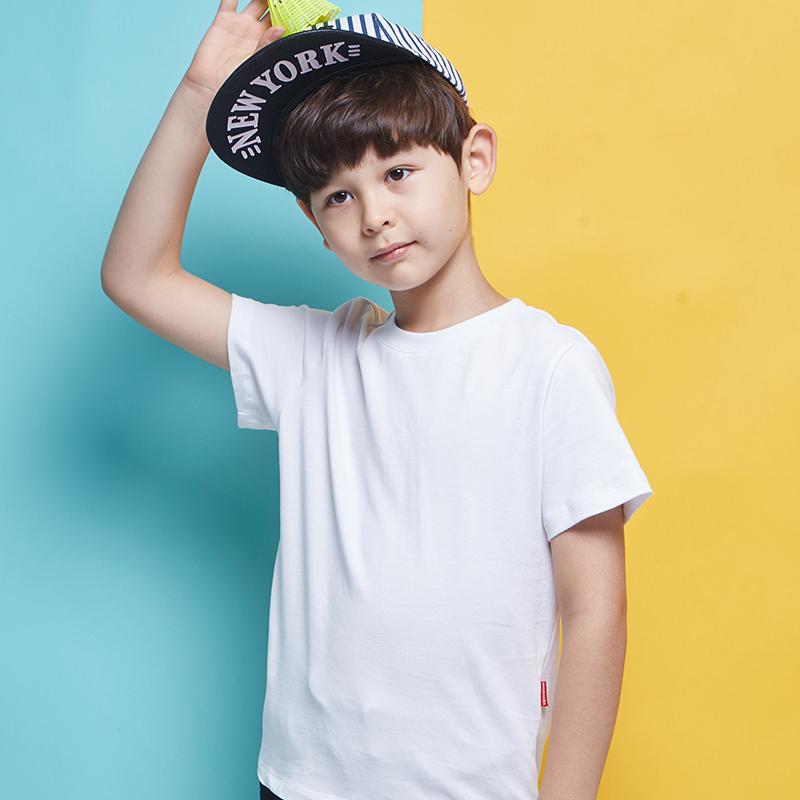 男童白色t恤 纯色短袖中大童纯棉上衣童装黑色纯白半袖潮韩版童装