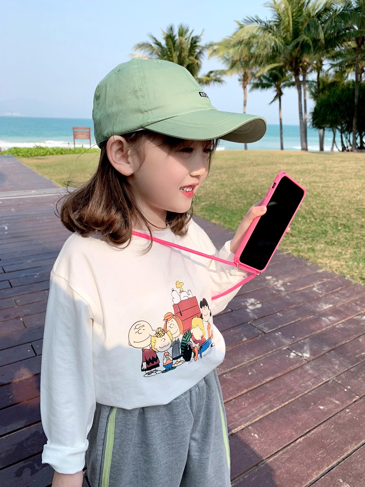儿童T恤2021春装新款童装宝宝洋气字母长袖女童休闲打底衫体恤潮