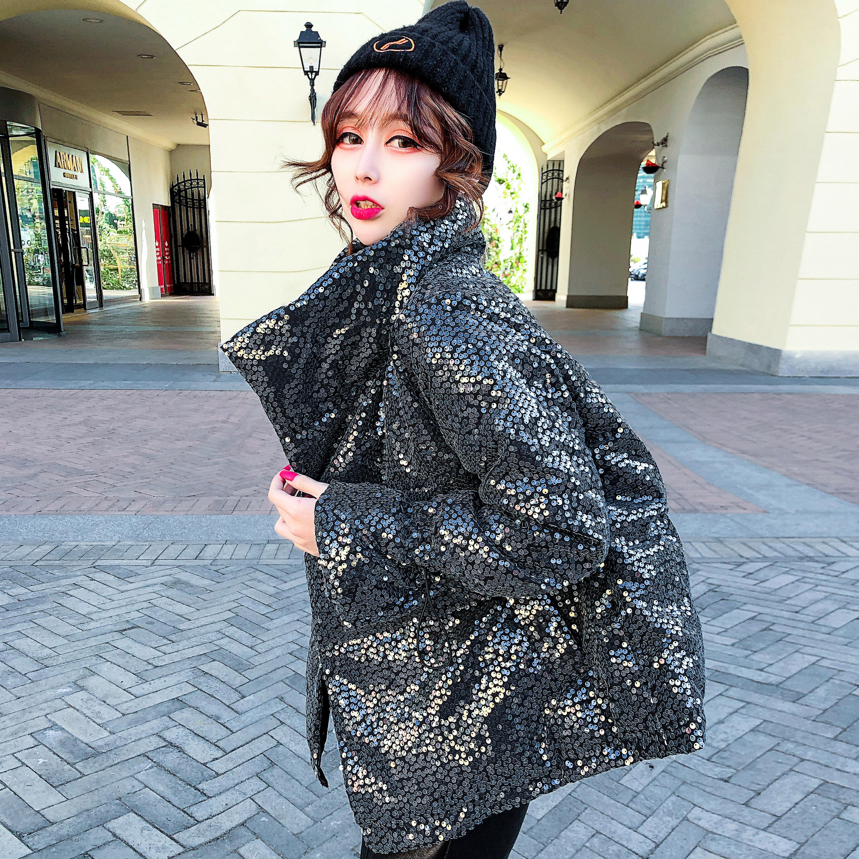 亮片羽绒棉服女短款欧洲站2020冬季新款chic棉衣时尚小个子ins潮