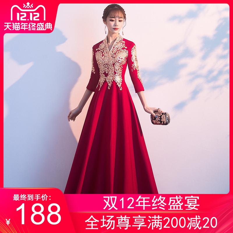 敬酒服新娘2019新款冬季酒红色平时可穿长袖中式结婚孕妇晚礼服女