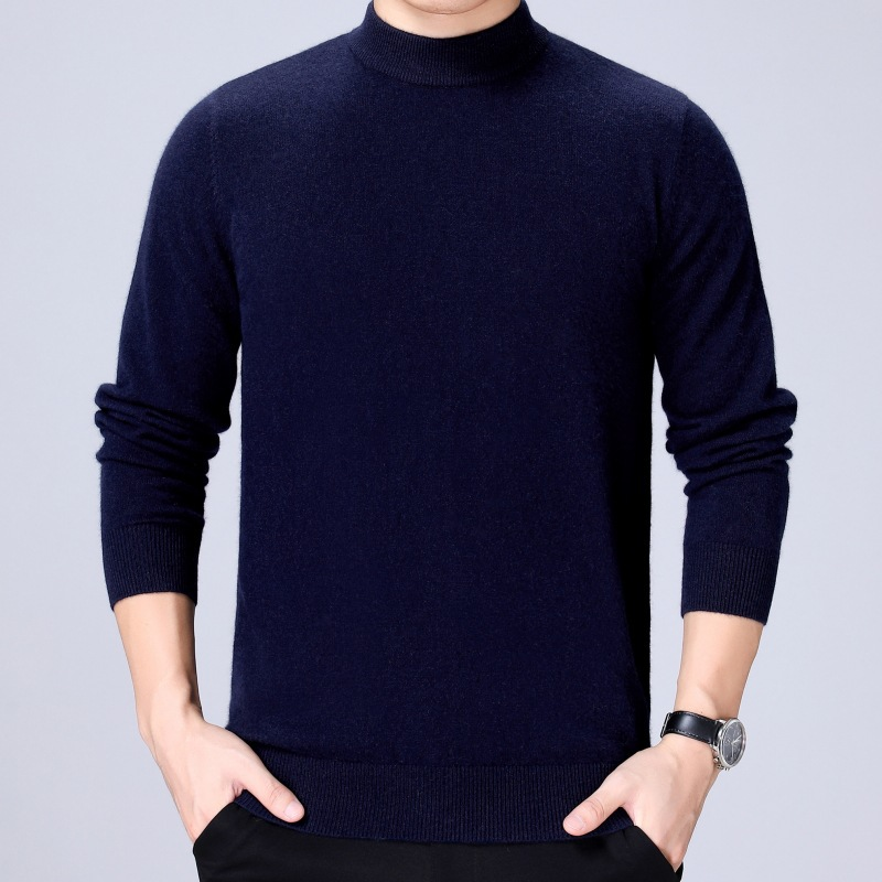 New semi high collar cashmere mens solid color leisure long sleeve wool sweater autumn winter 2020 mens Pullover