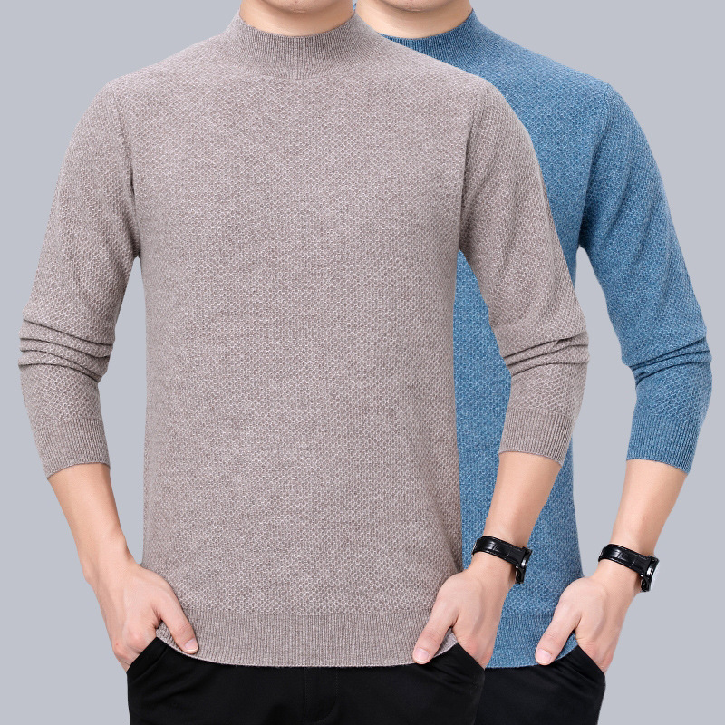 New 2020 cashmere sweater middle aged mens winter half turtleneck sweater knitted pullover with one thick hair
