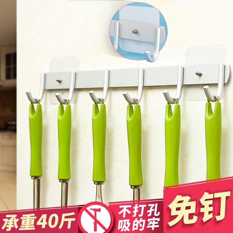 廚房強力掛鉤粘膠牆壁掛架吸盤免釘壁掛承重免打孔一排衣架不粘鉤