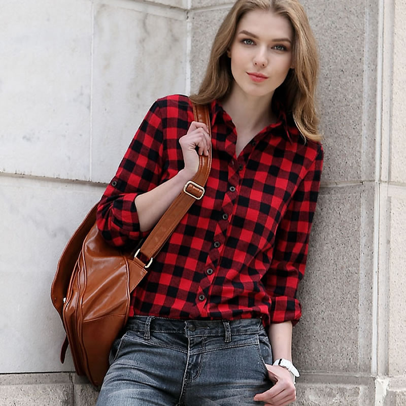 Hua Yige French spring and autumn classic short frosted red and Black Plaid Shirt womens long sleeve cotton womens shirt slim