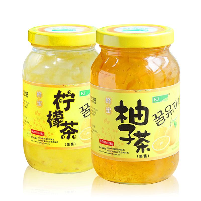 ~天貓超市~韓國kj蜂蜜檸檬茶405g 蜂蜜柚子茶405g兩瓶