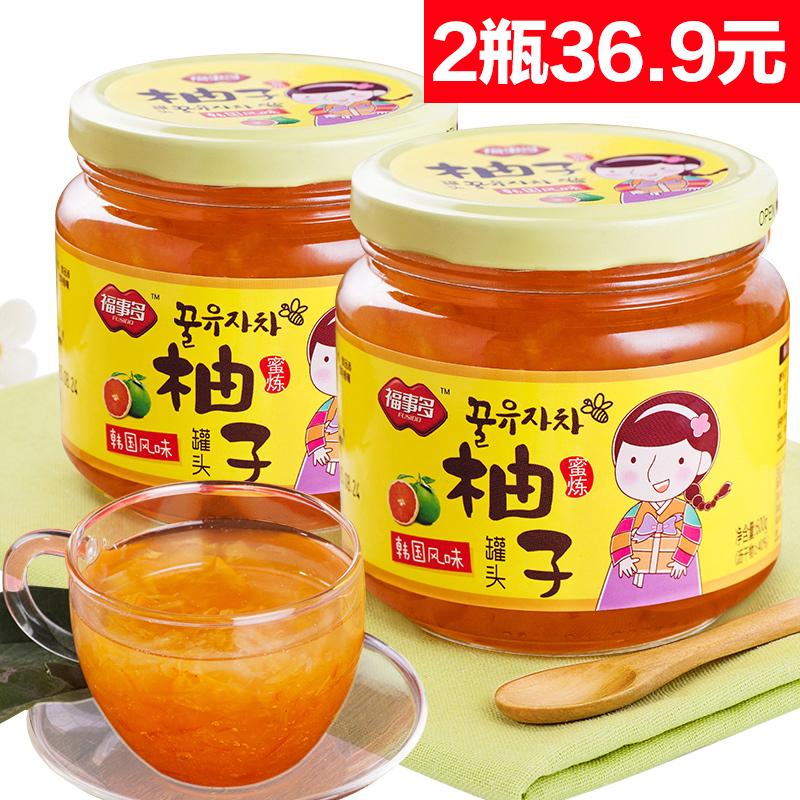 ~天貓超市~福事多蜂蜜柚子茶600g^~2瓶 韓國風味衝飲品下午茶