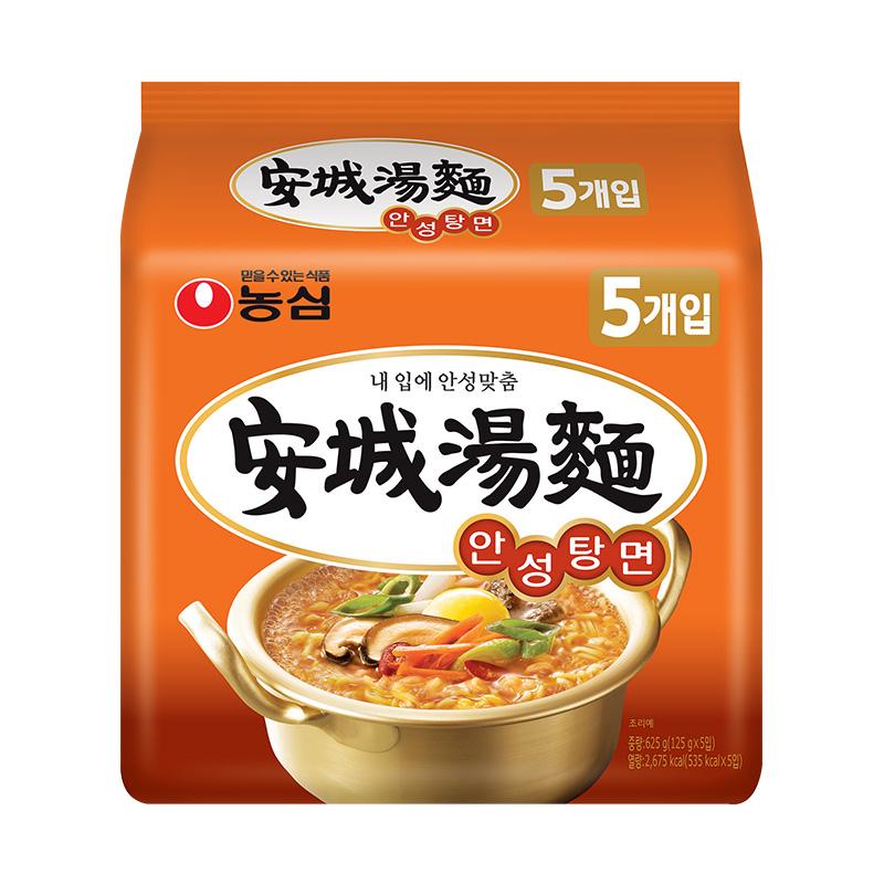 ~天貓超市~韓國 農心安城湯麵125g^~5方便麵泡麵袋裝