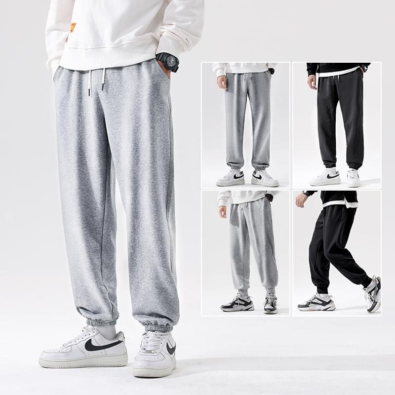 运动裤男春季新款宽松休闲直筒长裤子篮球灰色收口束脚针织卫裤潮
