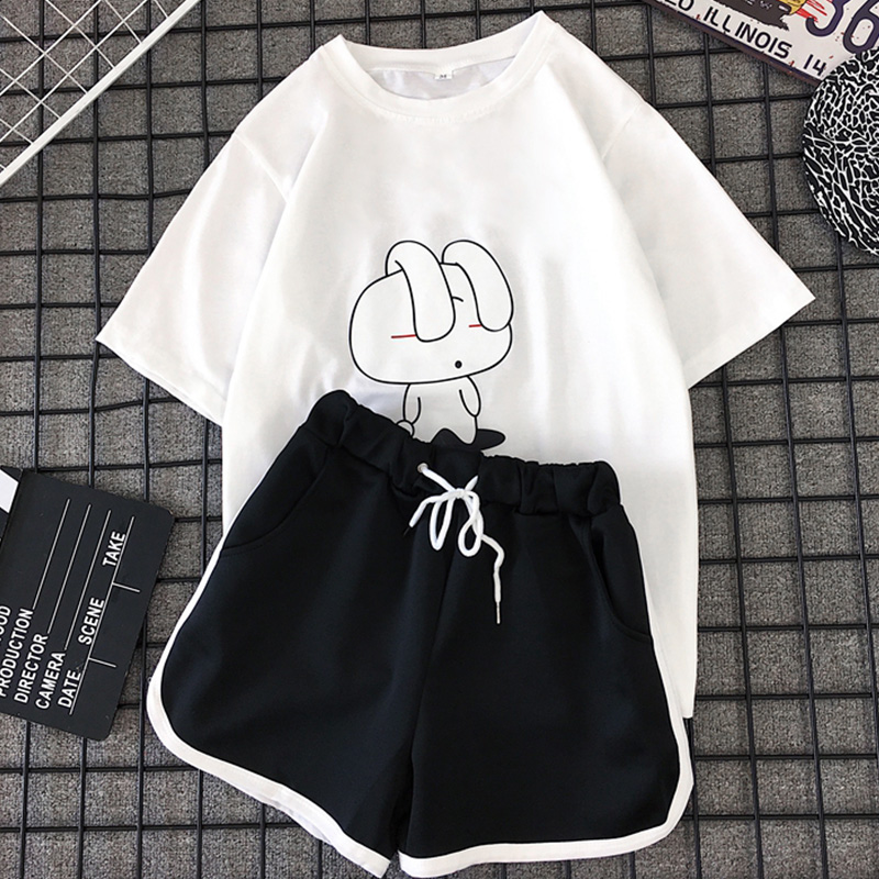 两件套套装女夏季新款ins动漫卡通学生短袖T恤短裤休闲运动套装女