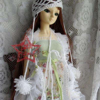 顽主创意手工SD BJD DD 3分4分6分 少女毛线帽 白色