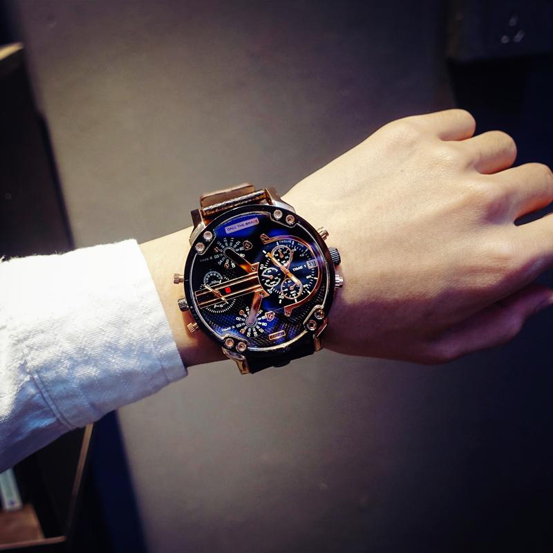 法国小众手表男潮流韩版个性学生抖音网红大表盘石英男表时尚腕表