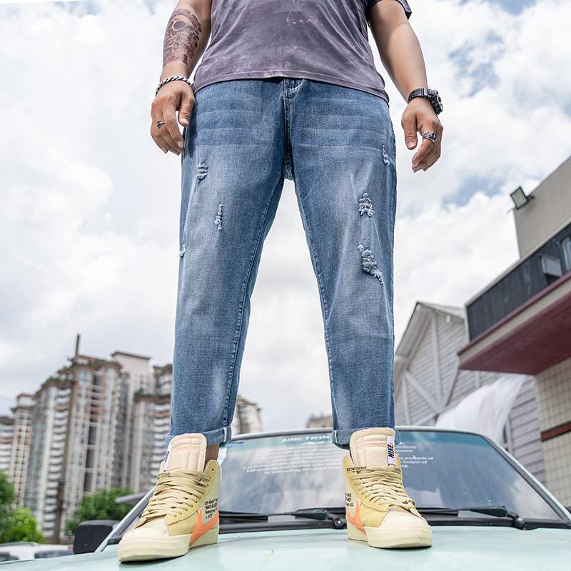 2021春秋新款破洞加肥加大码牛仔裤男式潮牌宽松时尚胖子肥佬长裤