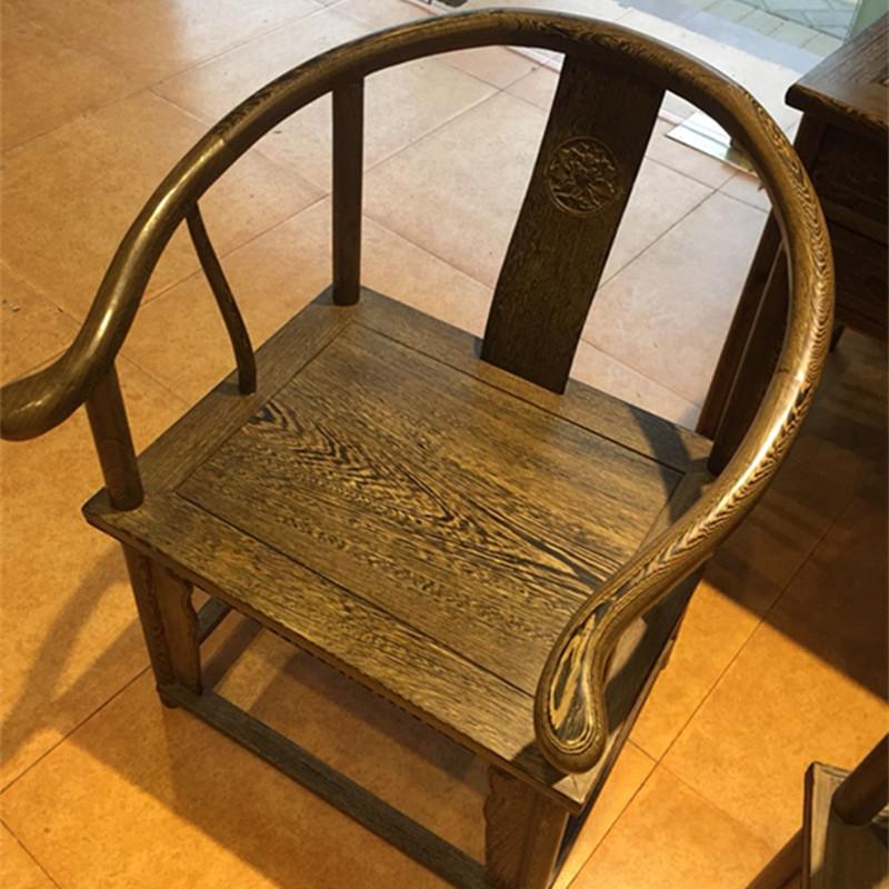 特价太师椅鸡翅木圈椅三件套靠背椅中式实木休闲管帽椅茶桌椅办公
