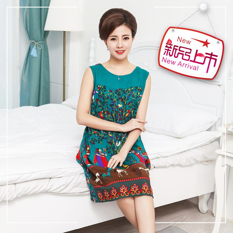 妈妈装夏季纯棉绸碎花裙子40-50-60岁女中老年大码修身短袖连衣裙