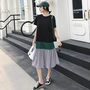 2021年夏季纯棉鱼尾裙女新款短袖长款拼接连衣裙荷叶边t恤裙潮