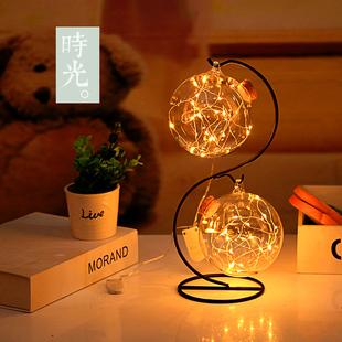 LED灯许愿瓶夜光幸运星玻璃木塞瓶创意瓶摆件瓶吊瓶星星瓶