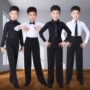 男童拉丁舞服裝少兒舞蹈演出服兒童標準考級服白色套裝男孩練功服