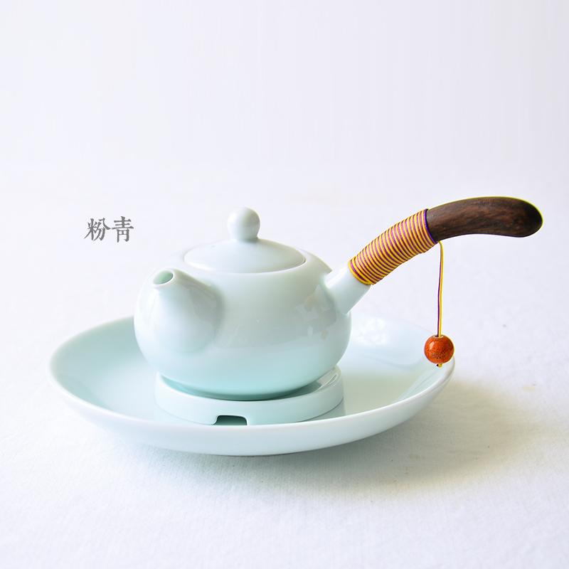 永利彙景德鎮陶瓷小茶壺側把單壺帶過濾網綁繩 功夫茶具泡茶器