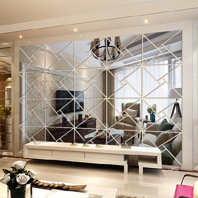 客厅电视背景镜面墙贴 抽象几何图案立体墙贴大型水晶亚克力装饰