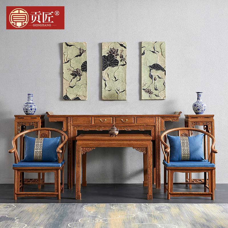 红木家具鸡翅木中堂六件套供桌条案实木八仙桌新中式客厅供台神台