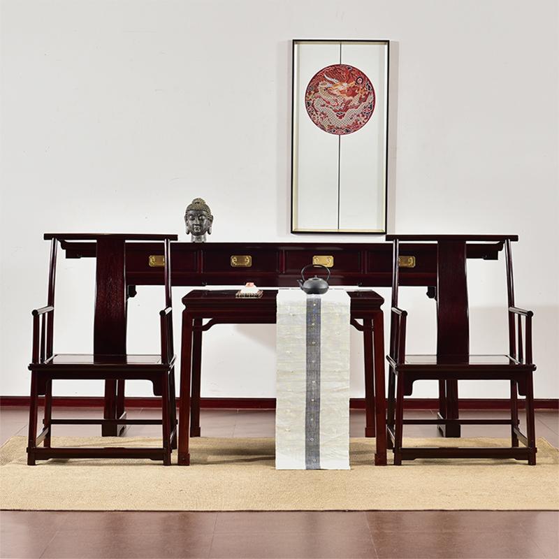红木家具赞比亚血檀中堂桌子农村堂屋条案实木中式仿古中堂四件套