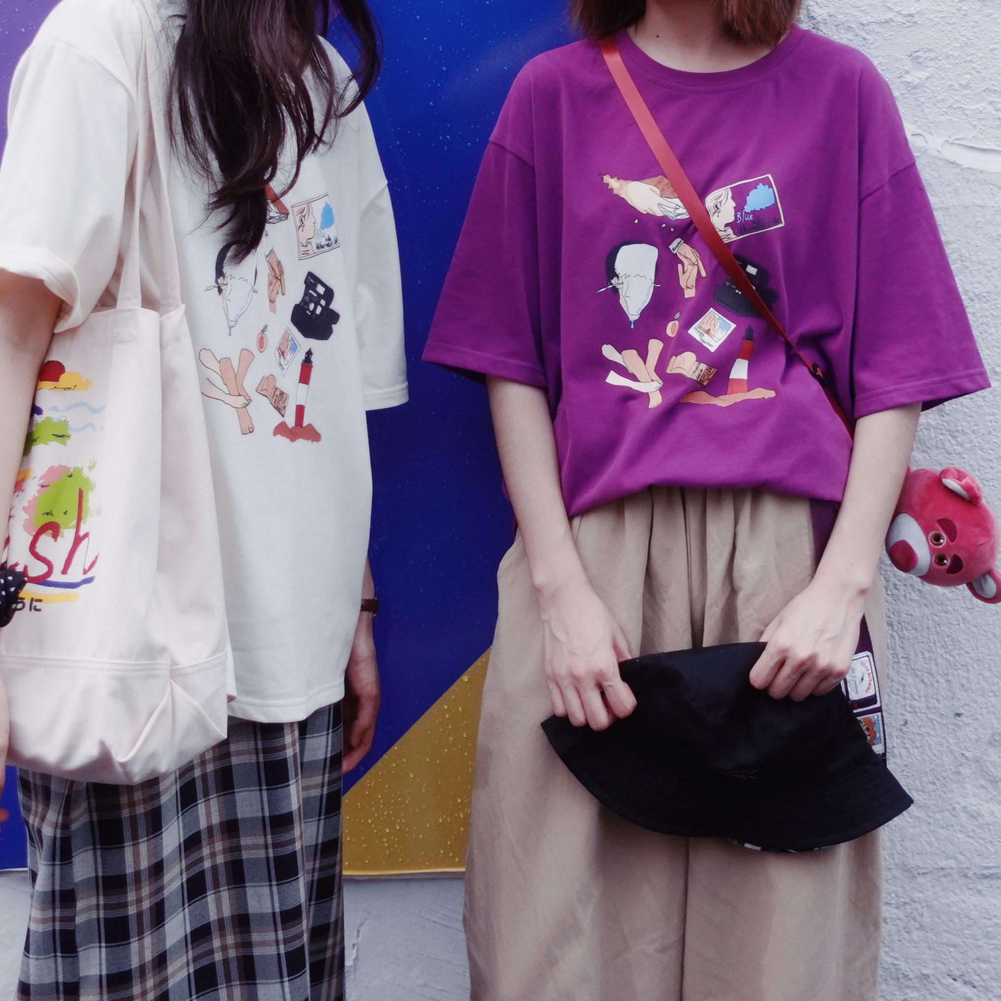 三号黑店 电影周边原创插画紫色纯棉柔软磨毛短袖T恤 20/06彩虹