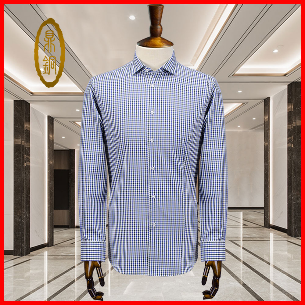 Mens shirt middle-aged custom long sleeve blue and white plaid striped shirt Lapel versatile simple base business leisure