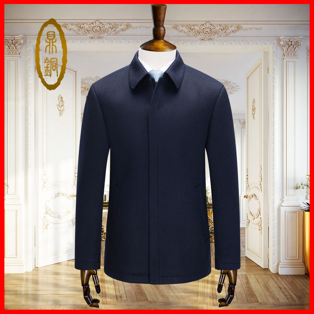 Wool autumn and winter coat mens Lapel white duck down liner thickened tweed jacket business leisure mens new