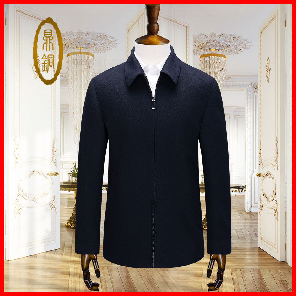 Cashmere coat mens custom new wool jacket executive business casual Lapel short middle aged mens Navy