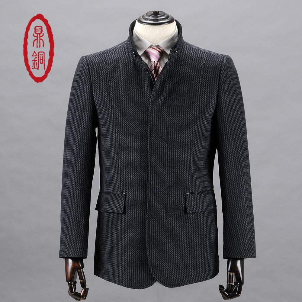 鼎銅服/秋冬高級男装高貴なウールコートファッション立襟ビジネス修身服