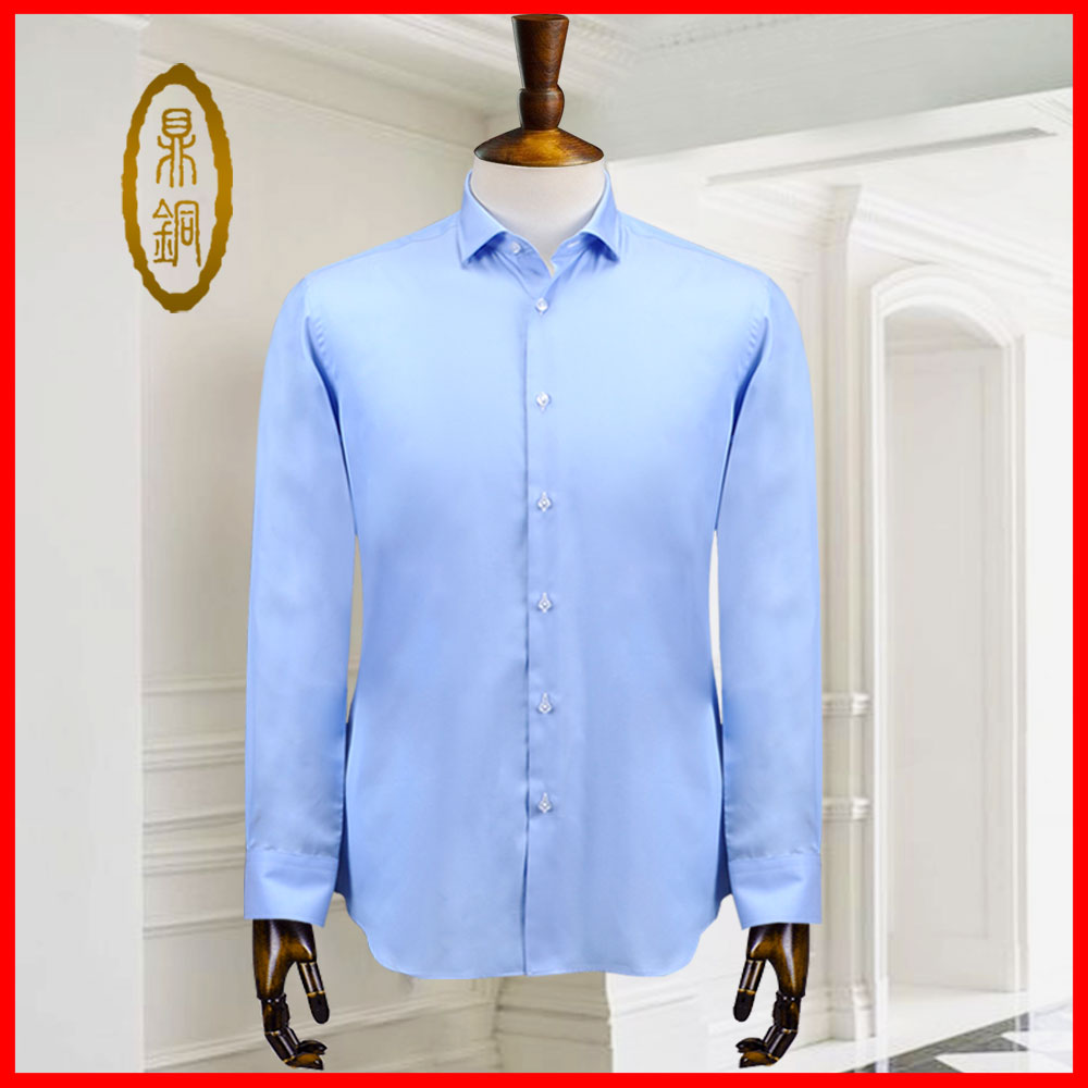 Mens Shirt Custom new shirt middle-aged and old peoples long sleeve versatile solid color Lapel cotton silk business leisure