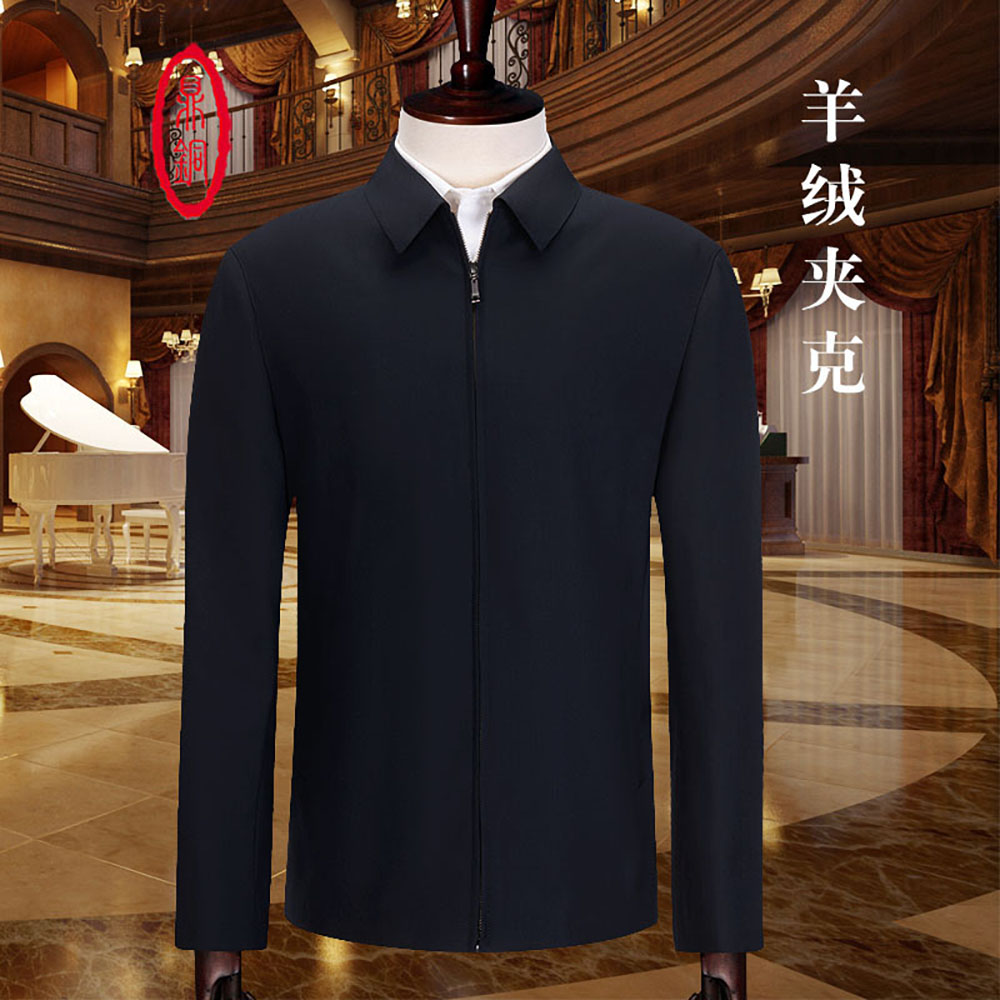 Ding copper cashmere jacket mens wool jacket middle aged mens Lapel business leisure spring and autumn short loose leadership
